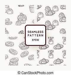 Set of Vector Candy, Cooky and Muffins Seamless Patterns. Sweet Party Texture.