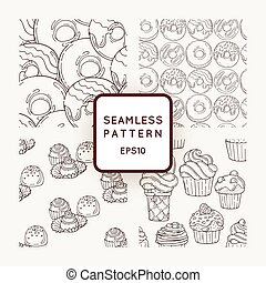 Set of Vector Candy and Muffins Seamless Patterns. Sweet Party Texture.