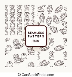 Set of Vector Candy and Bows Seamless Patterns. Sweet Party Texture.