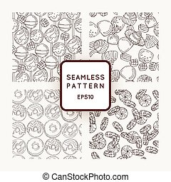 Set of Vector Candy, Bows and Donuts Seamless Patterns. Sweet Party Texture.