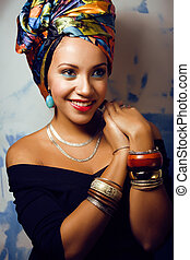 beauty bright african woman with creative make up - beauty...