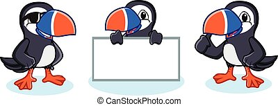 Puffin Mascot Vector happy, pose and bring board