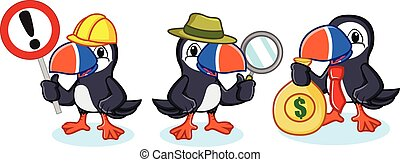 Puffin Mascot Vector with money, magnifying and sign