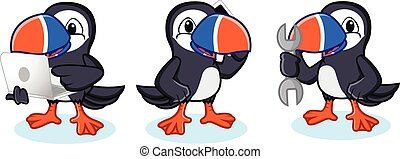 Puffin Mascot Vector with phone, laptop and tools