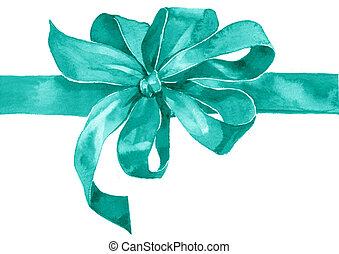Watercolor holiday blue azure bow