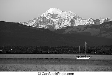 Sailboat Sails Down Motoring Puget Sound Mt Baker Cascade...