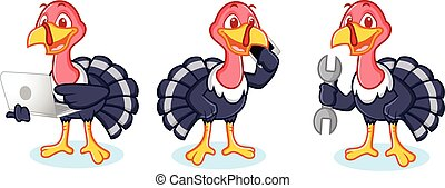 Turkey Mascot with phone, laptop and tools
