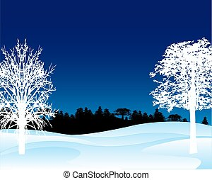Winter landscape in the night