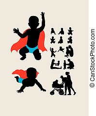 Baby is Hero Silhouettes, art vector design