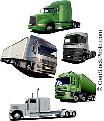 Vector illustration of five trucks