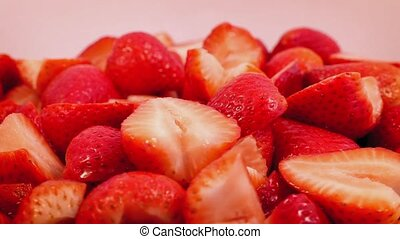 Cream Pours On Bowl Of Strawberries - Fresh cream poured...