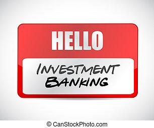 investment banking name tag sign concept illustration design...