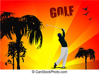 Poster with Golf players. Vector i