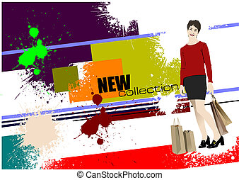 Grunge banner new collection. Vect
