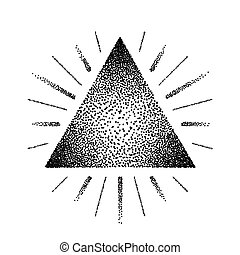 Dotwork raster triangle with rays and tattoo style