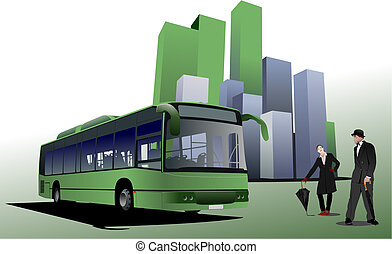 Abstract urban background with city bus image. Vector...