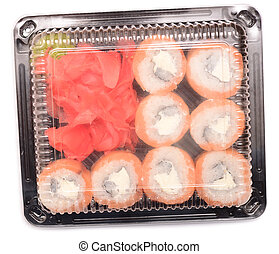 sushi pack - Sushi in the package isolated on a white...