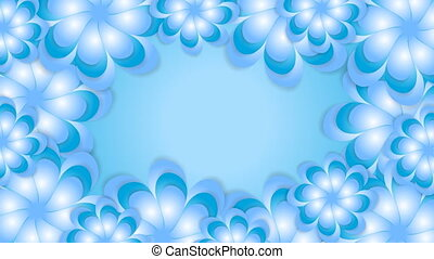 Blue abstract flowers video animation