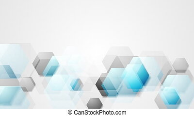 Blue grey bright abstract hexagons tech video animation -...
