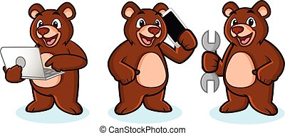 Bear Mascot Vector with phone