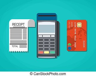 pos terminal, paper receipt and debit credit bank card....