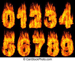 Burning Digits - 3D Illustration of burning digits isolated...