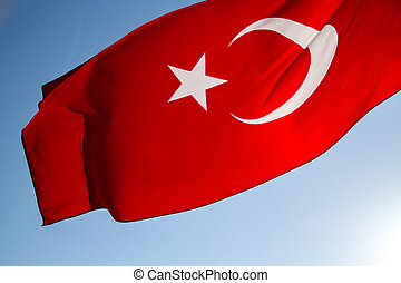 Turkish Flag - Turkish flag waving in the sky