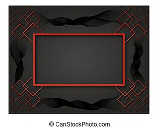 Red border with squards. Black waves