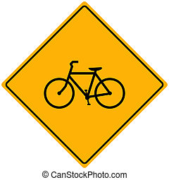 Bike Sign Vector - Vector illustration of a bike on a yellow...
