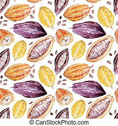 Watercolor cocoa pattern - Beautiful pattern with nice hand...