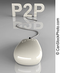 P2P - 3D rendered Illustration. Peer to peer connection.