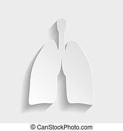 Human organs. Lungs sign. Paper style icon with shadow on...