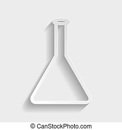 Conical Flask sign. Paper style icon with shadow on gray.