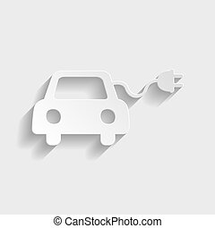 Eco electrocar sign. Paper style icon with shadow on gray.