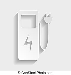 Electric car charging station sign Paper style icon with...