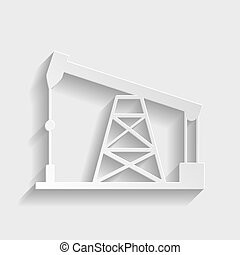 Oil drilling rig sign. Paper style icon with shadow on gray.
