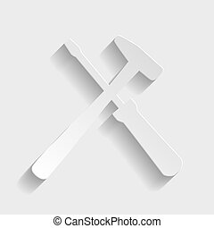 Tools sign Paper style icon with shadow on gray