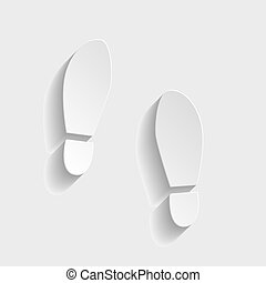 Imprint soles shoes sign Paper style icon with shadow on...