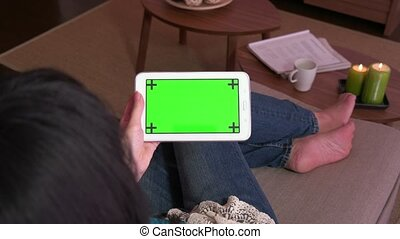 Ipad Tablet Green Screen Monitor Pc - Mature Japanese woman...