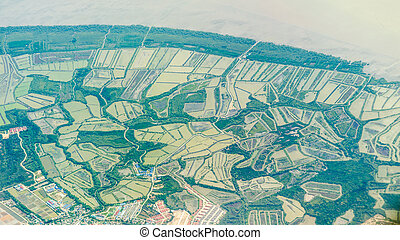 Aerial view of green agriculture field in thailand