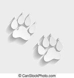 Animal Tracks sign. Paper style icon