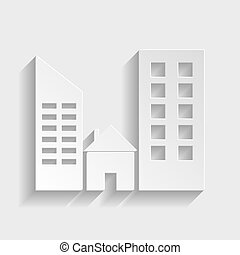 Real estate sign. Paper style icon with shadow on gray.