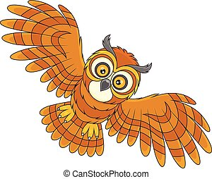 Night owl flying - Vector illustration of a brown owl...