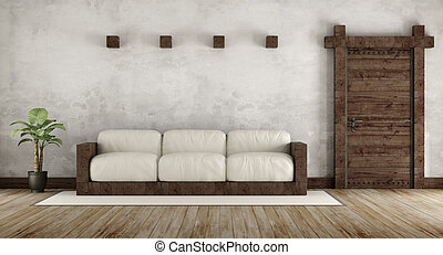 Living room in rustic style with wooden couch and old wooden...