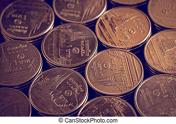 money concept coins currency baht thai with filter effect...