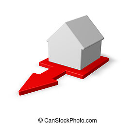 out - simple house and red arrow - 3d illustration