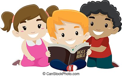 Children Reading Bible - Vector Illustration of Children...