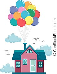 House Fly by Colorful Balloons - Vector Illustration of...