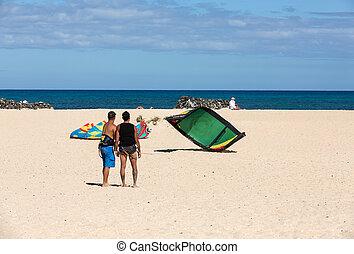Kite surfer in the beaches of Fuerteventura, Spain