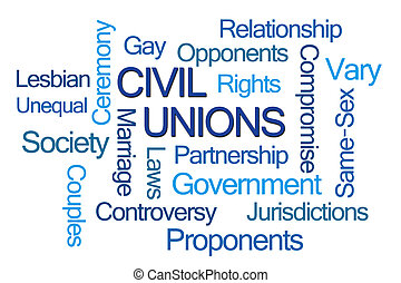 Civil Unions Word Cloud on White Background